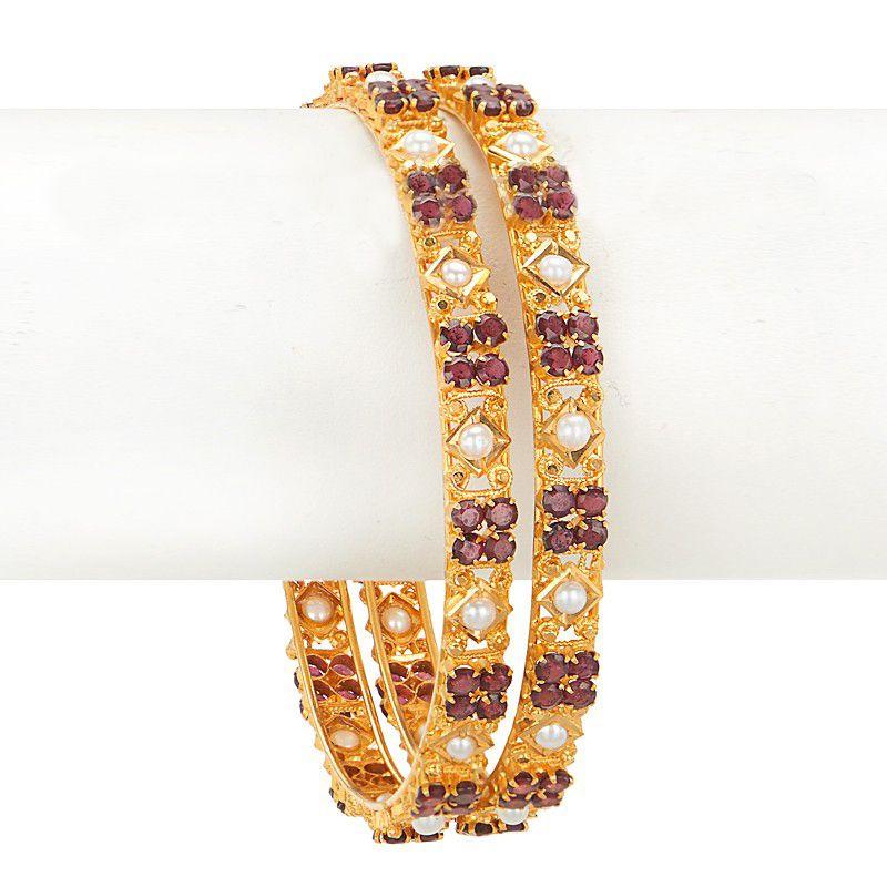 22k Gold Ruby Pearl Bangles
