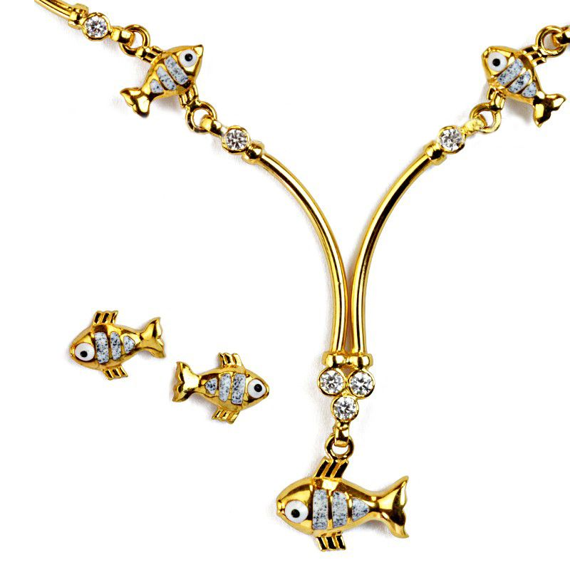 22k Gold Fishies Gold Necklace