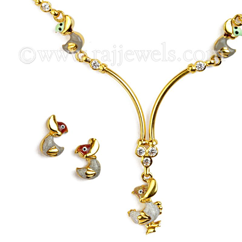 22k Gold Cute Duckies Necklace