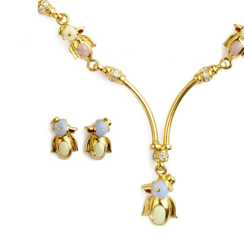 22k Gold Blue Penguins Necklace