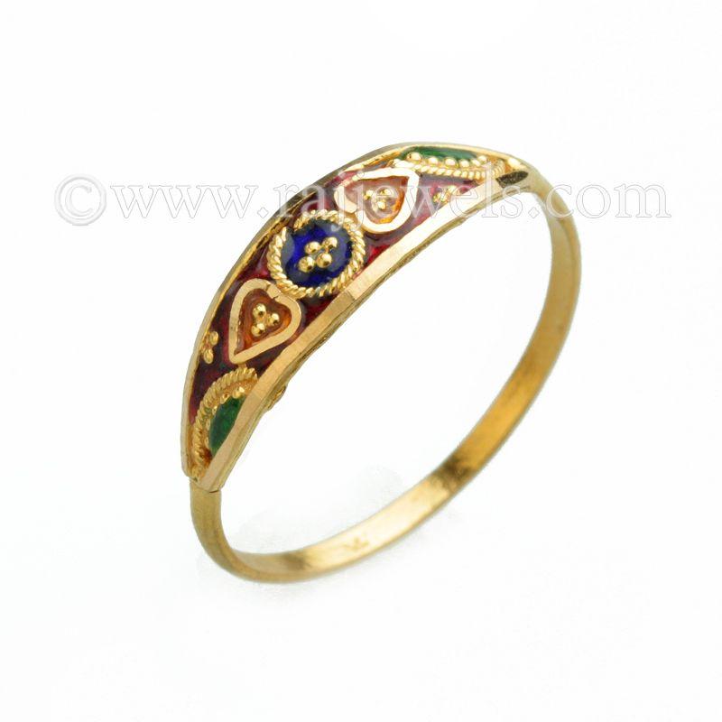 22k Gold Tricolor Enamel Baby Ring