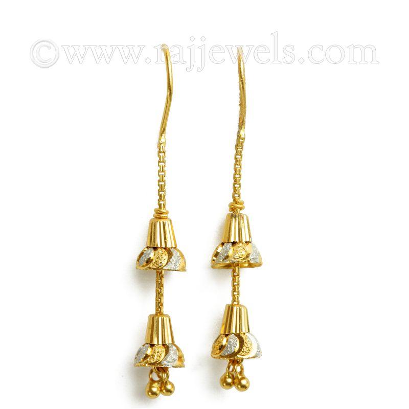 22k Gold Two-tone Drop Earrings