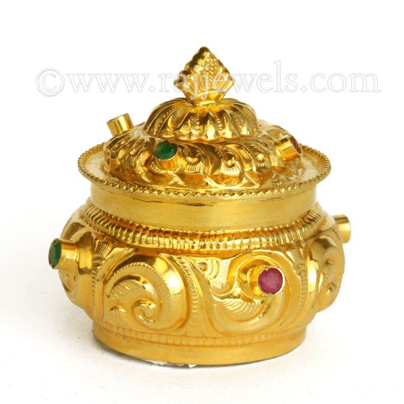 22k Gold Perennial Design Sindoor Box