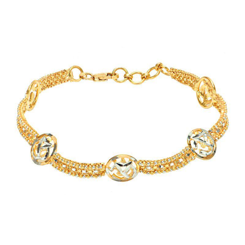 22k Gold Two-tone Om Bracelet