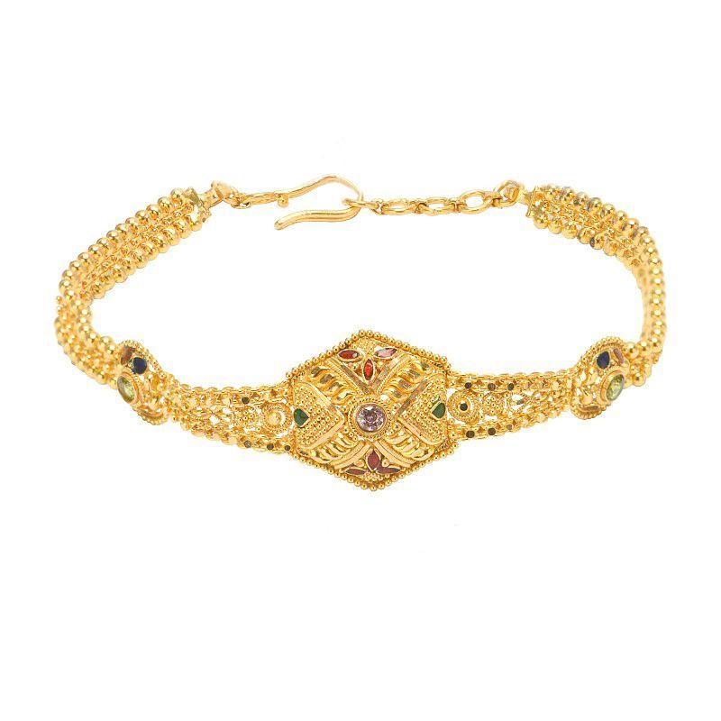 22k Gold Enamel Motif Bracelet