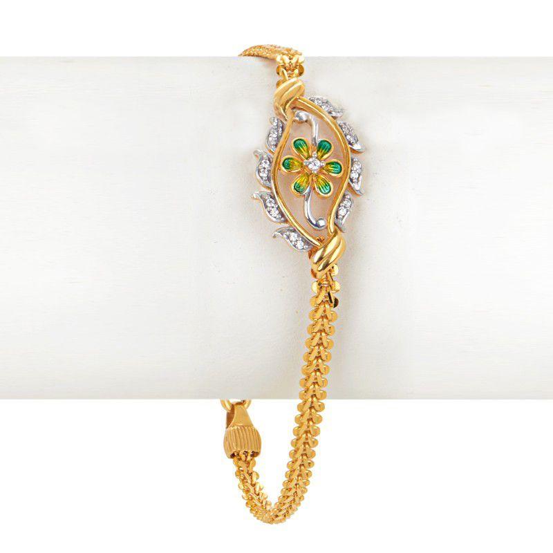 22k Gold Sunflower Motif Chain Bracelet