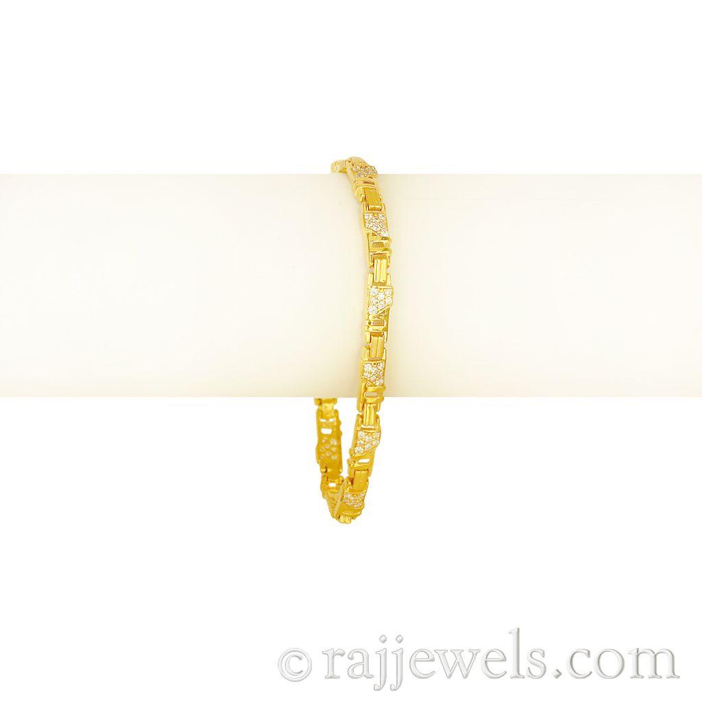 22k Gold Checkered style Cz Bracelet