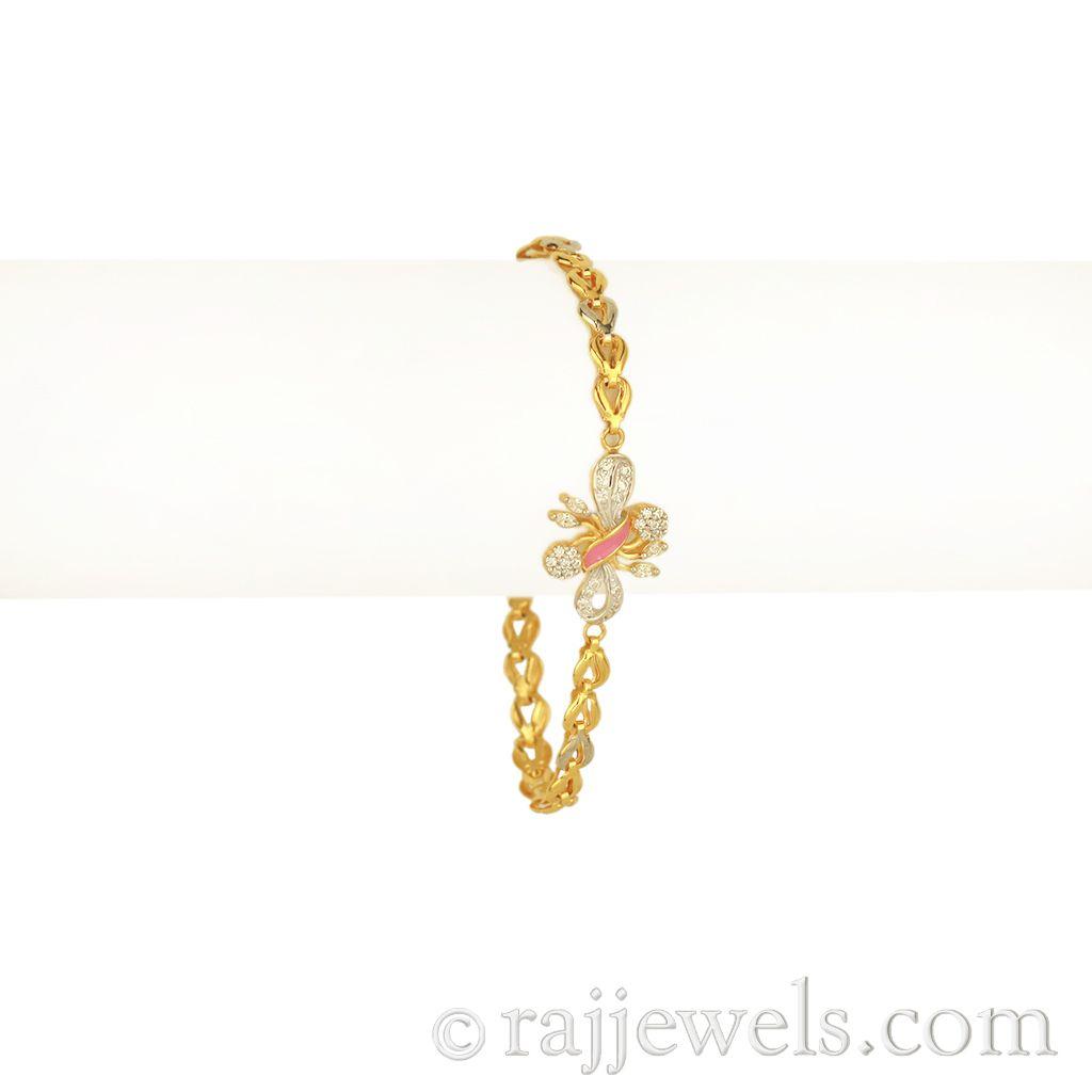 22k Gold Cz Butterfly Gold Bracelet