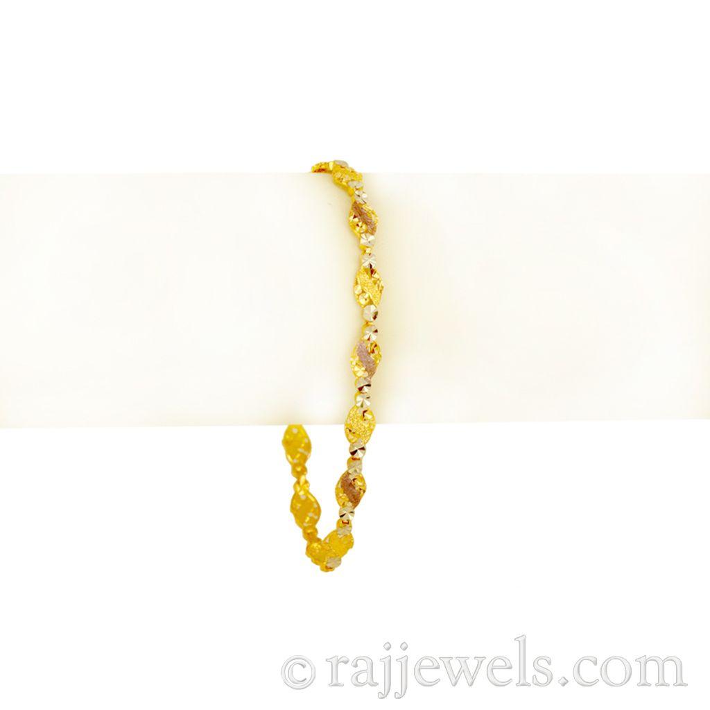 22k Gold Thin Two-tone Gold Bracelet