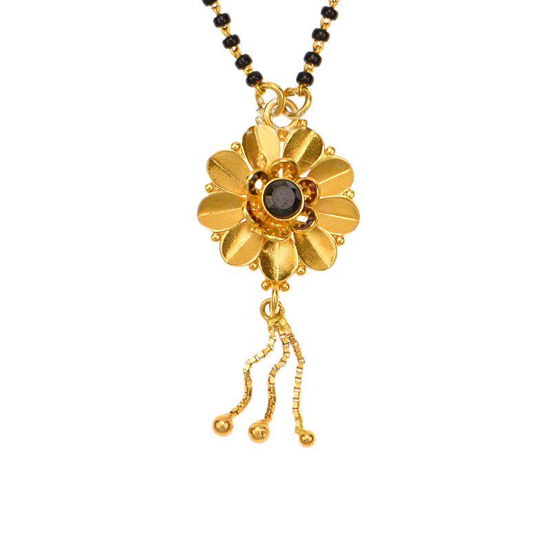 22k Gold Floral Dangles Mangalsutra