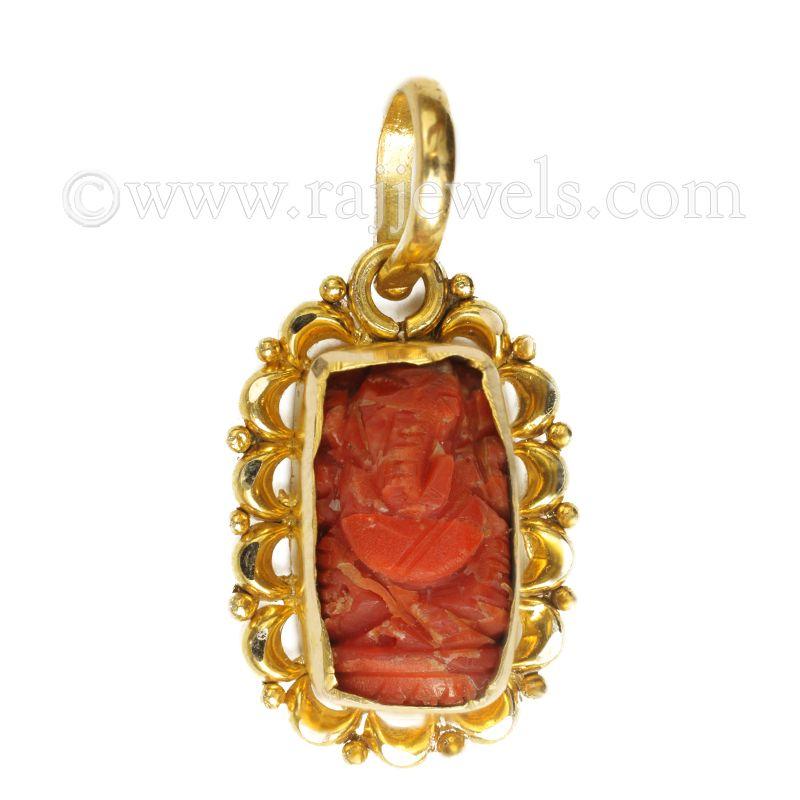 22k Gold Coral Ganesh Pendant