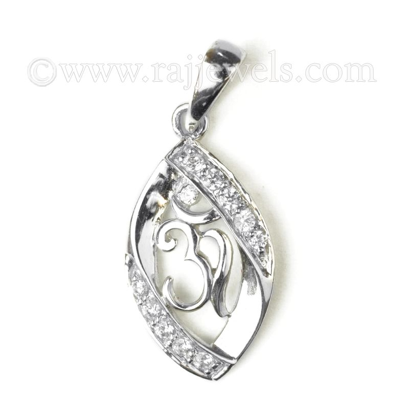 18k Diamond Om CZ Pendant