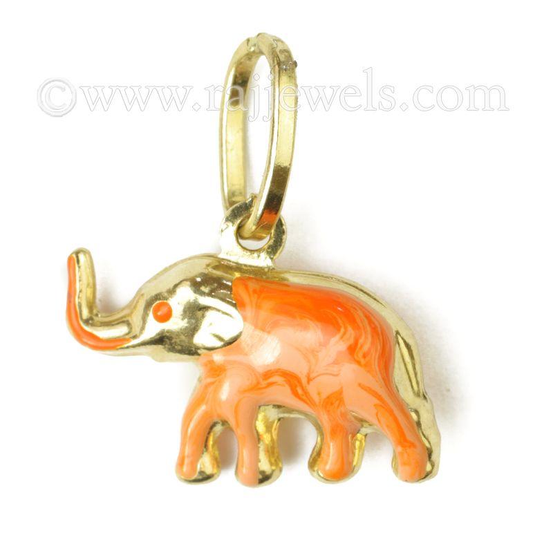 18k Gold Orange Elephant Gold Pendant