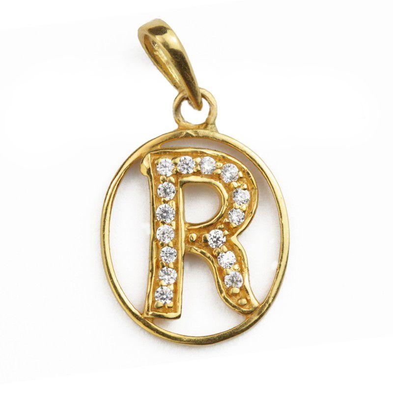 22k Gold Letter R CZ Pendant