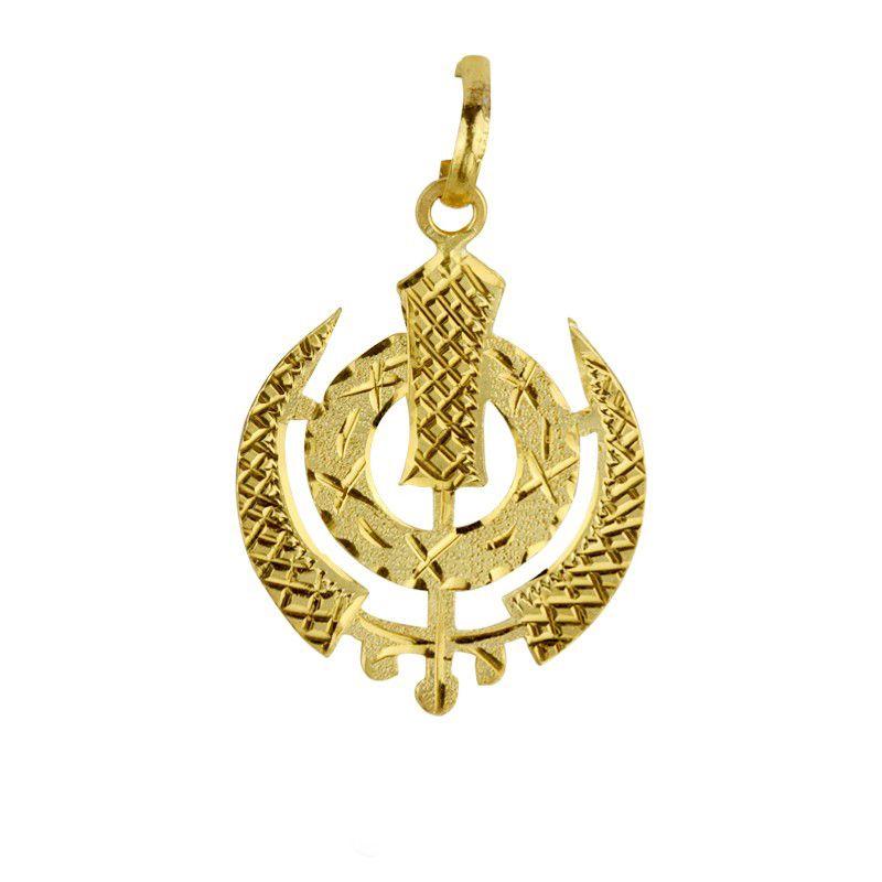 22k Gold 22K Yellow Gold Sikh Khanda Pendant