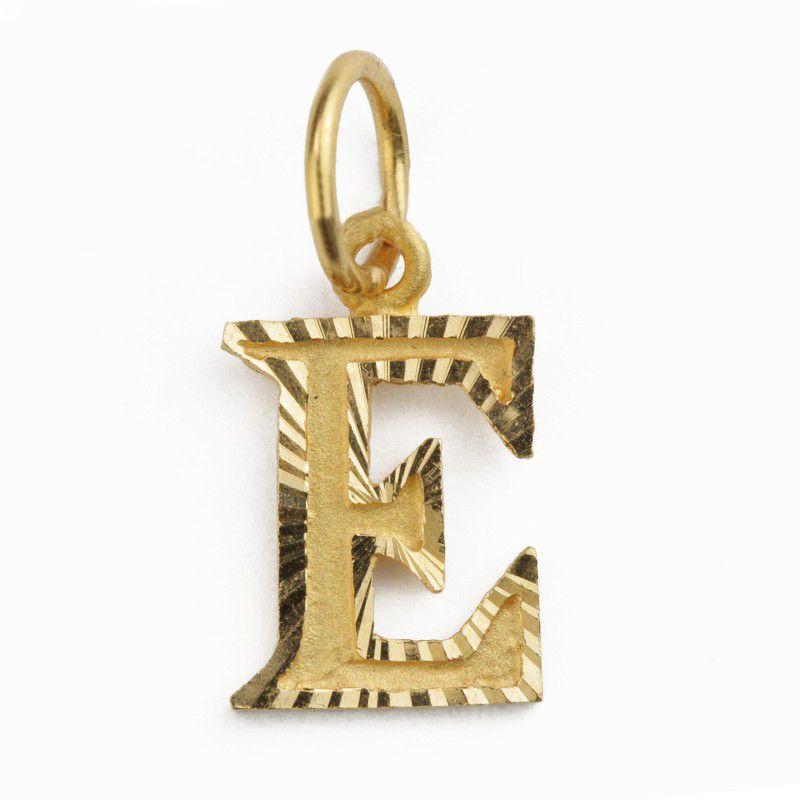 22k Gold Letter E Gold Pendant