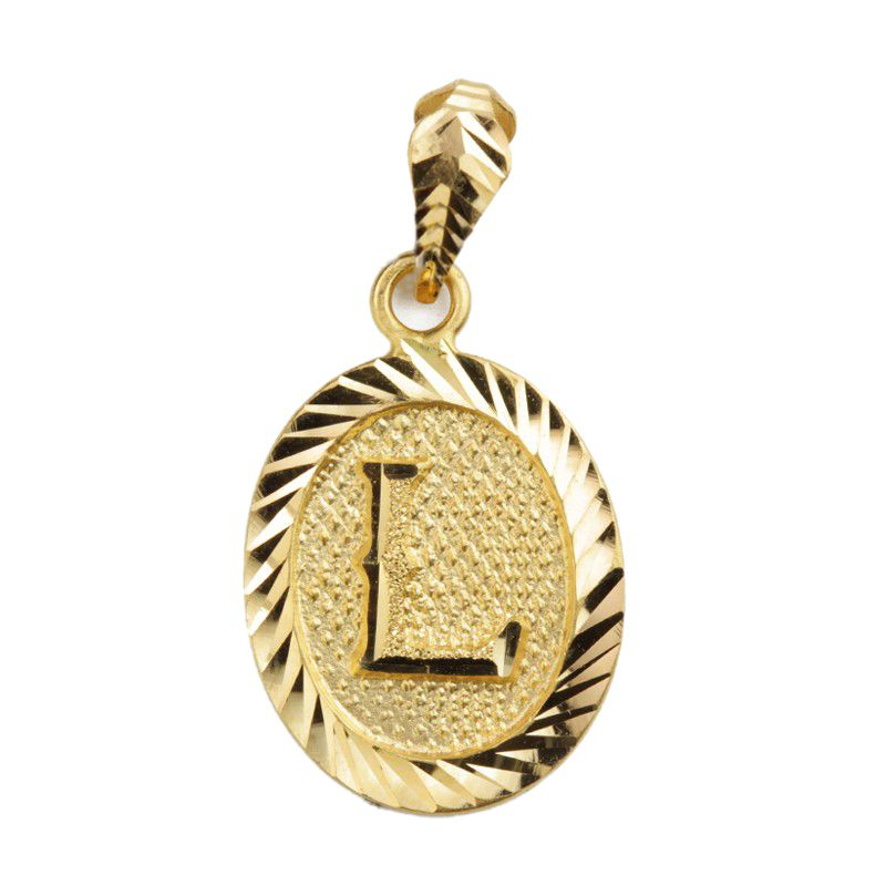 22k Gold Initial L Oval Pendant