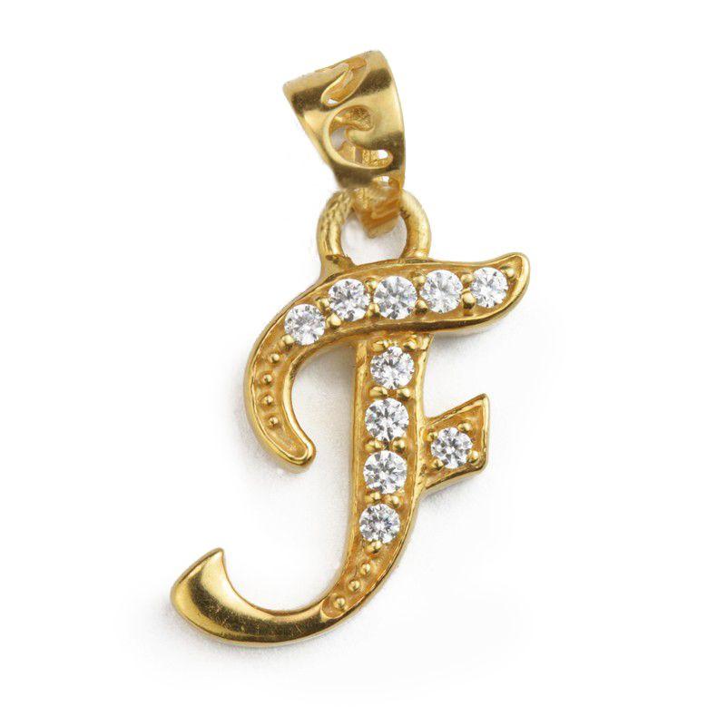 22k Gold Cursive Letter F Pendant