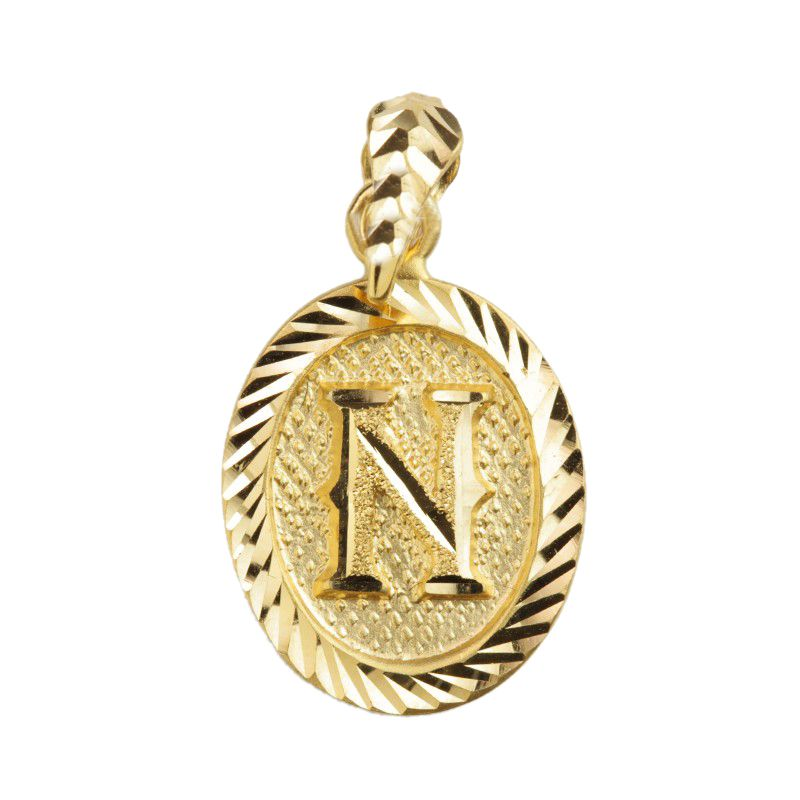 22k Gold Letter N Gold Pendant