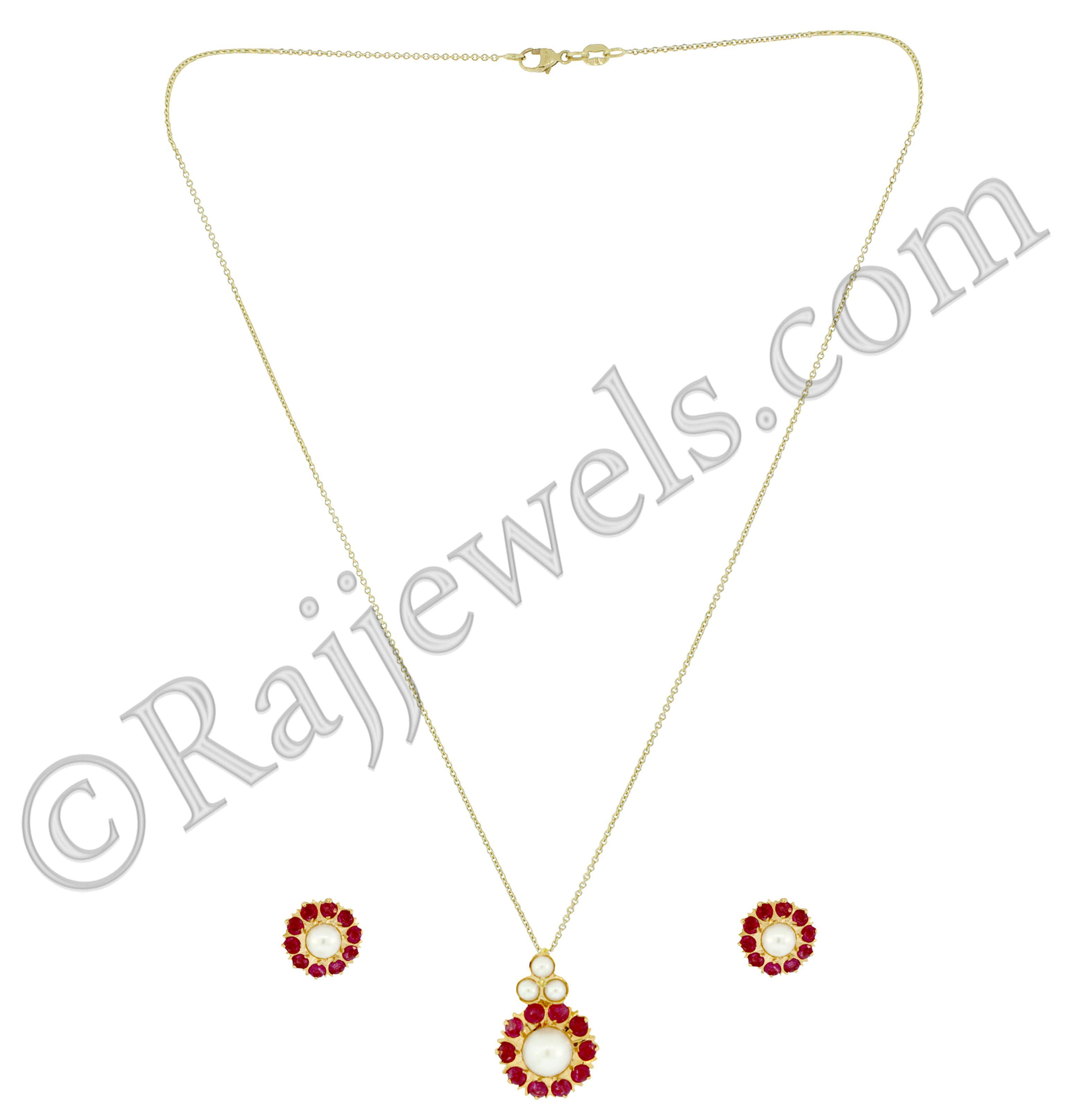 22k Gold Ruby stone pendant necklace