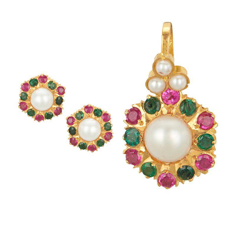 22k Gold Color Stones Pendant Necklace