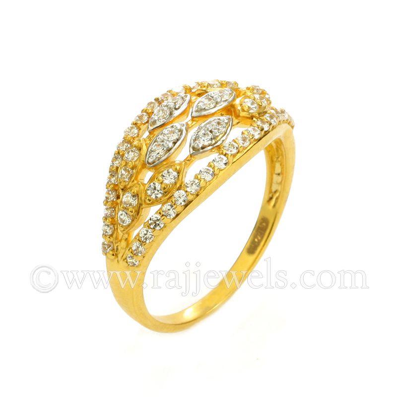 22k Gold Layered CZ Pattern Ring