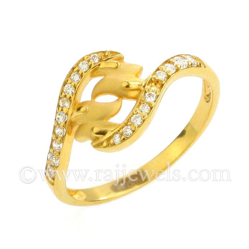 22k Gold CZ Dove Ring