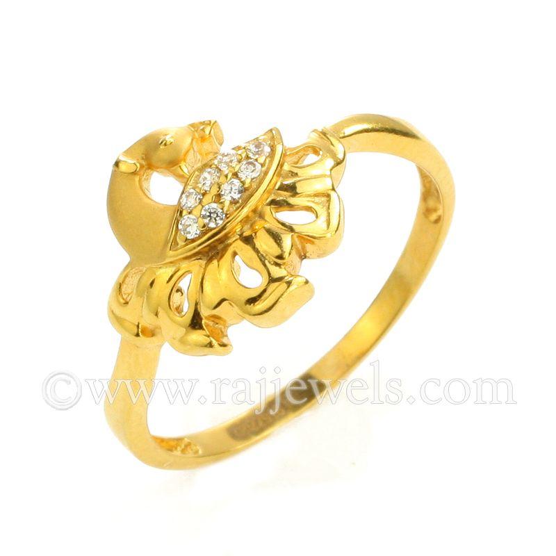 22k Gold Dancing Peacock CZ Ring