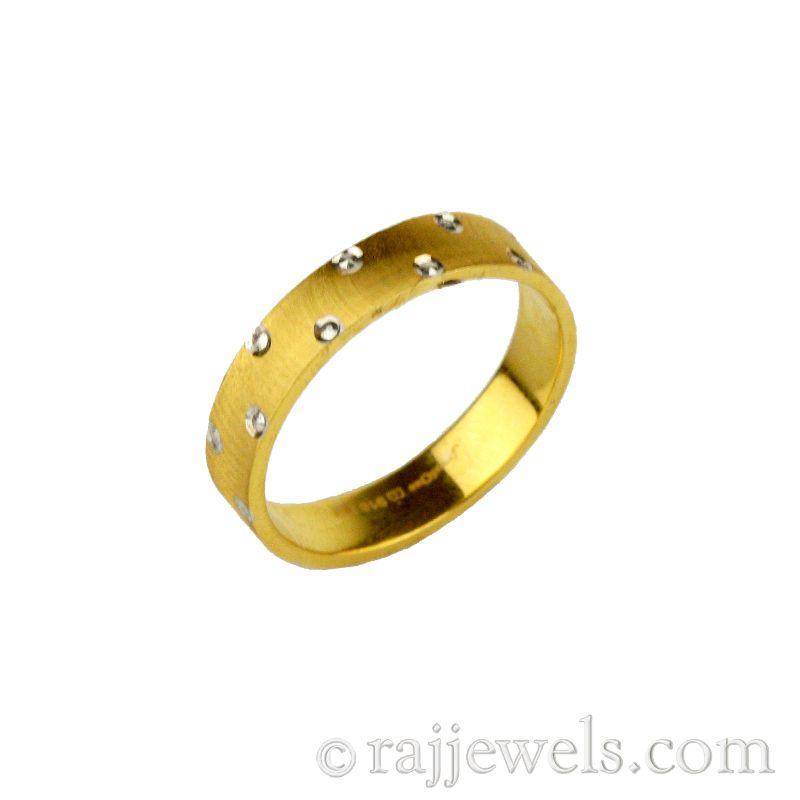 22k Gold Rhodium Dots Band