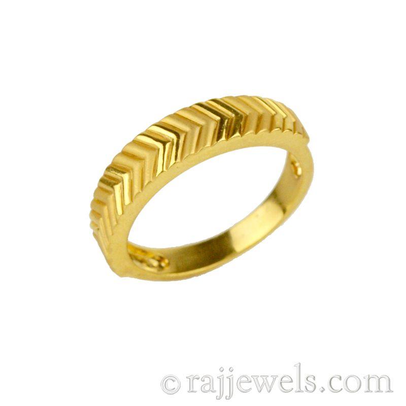 22k Gold Chevron Pattern Band