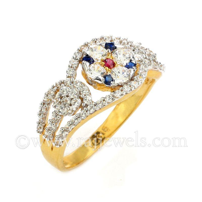 22k Gold Vintage CZ Ring