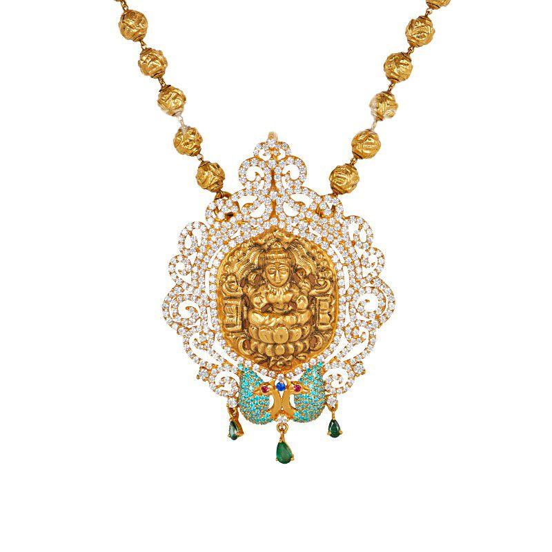 22k Gold CZ Gold Temple Necklace