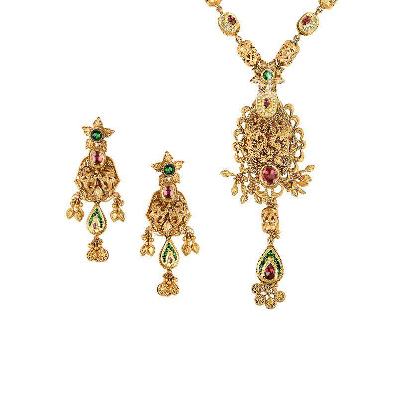 22k Gold Sundarani Antique Necklace