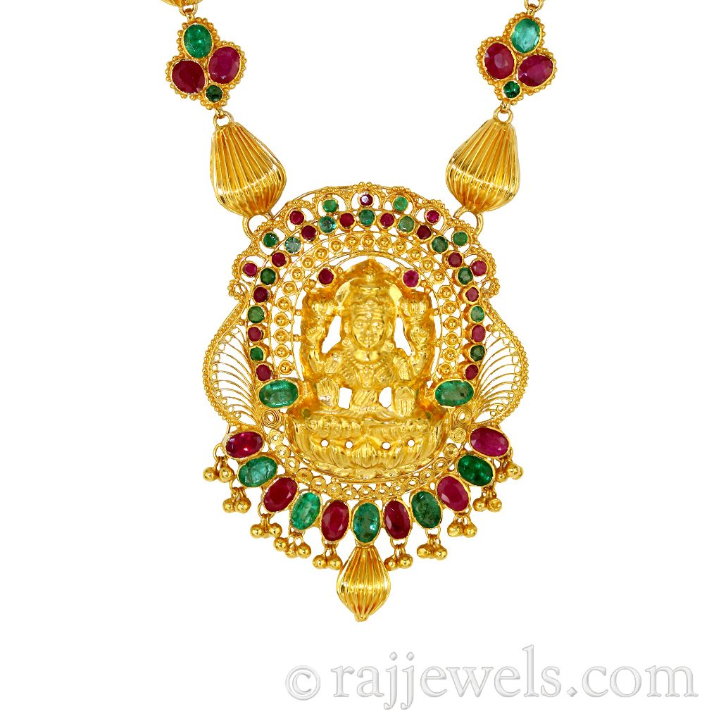 22k Gold Gold Laxmi Temple Necklace