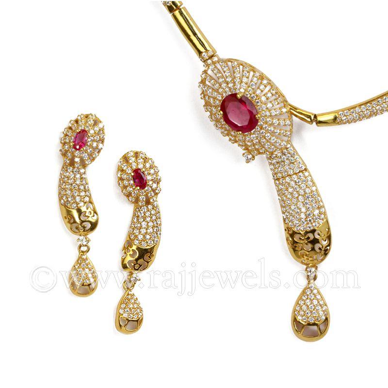 Gold Rosa CZ Necklace