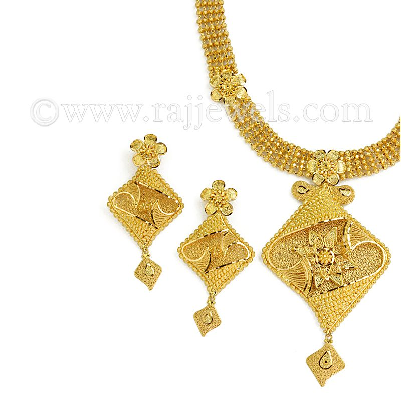 22k Gold Filigree Floral Necklace
