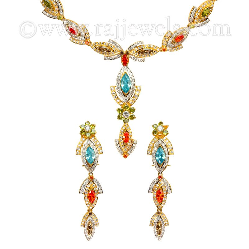 22k Gold Spades of CZ Necklace