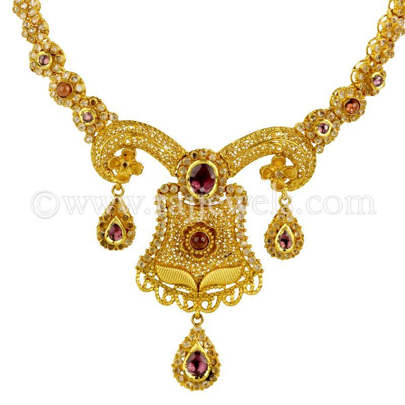 22k Gold Grand Antique & Polki Necklace