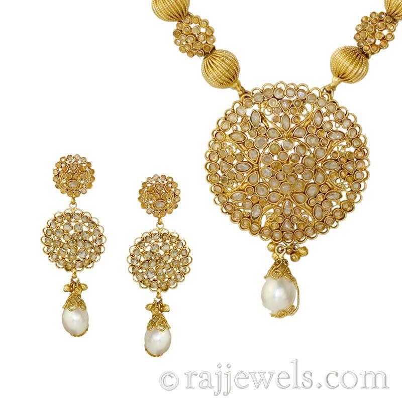 22k Gold Chandni Drops Necklace