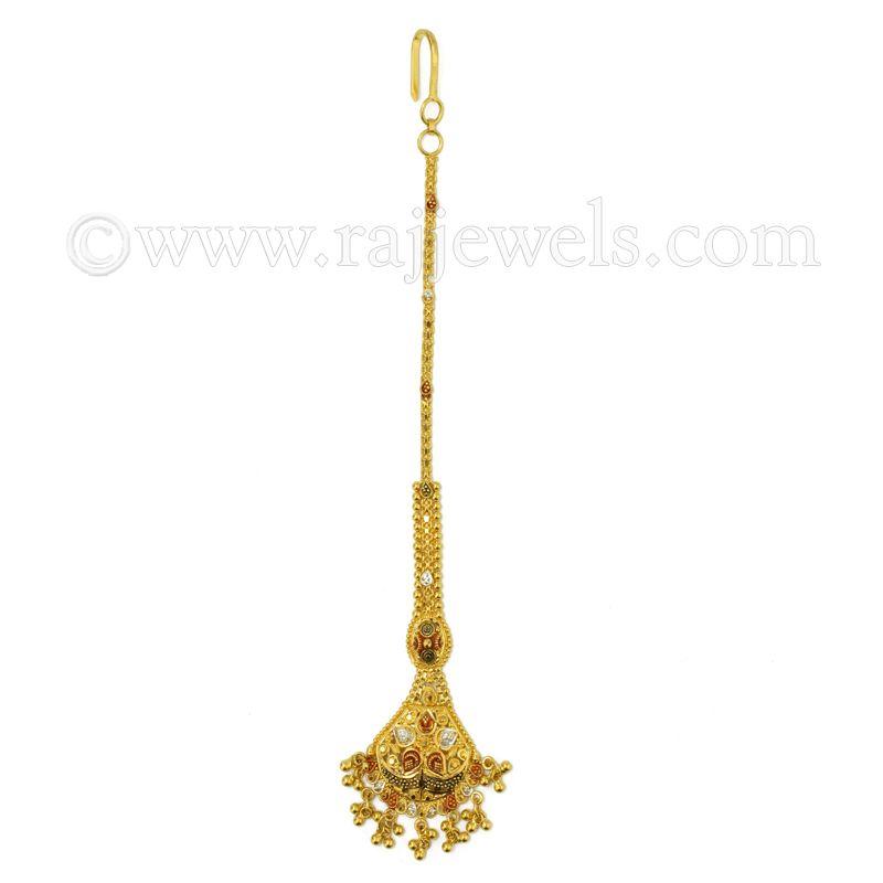 22k Gold Traditional Dangling Maang Tikka