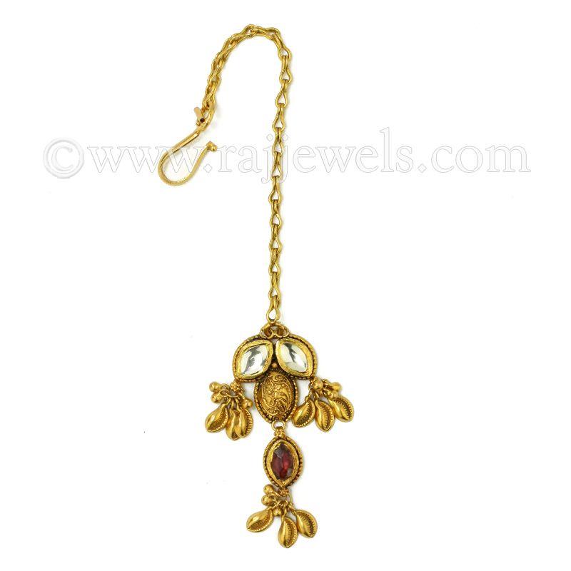 22k Gold Antique Gold Drop Maang Tikka