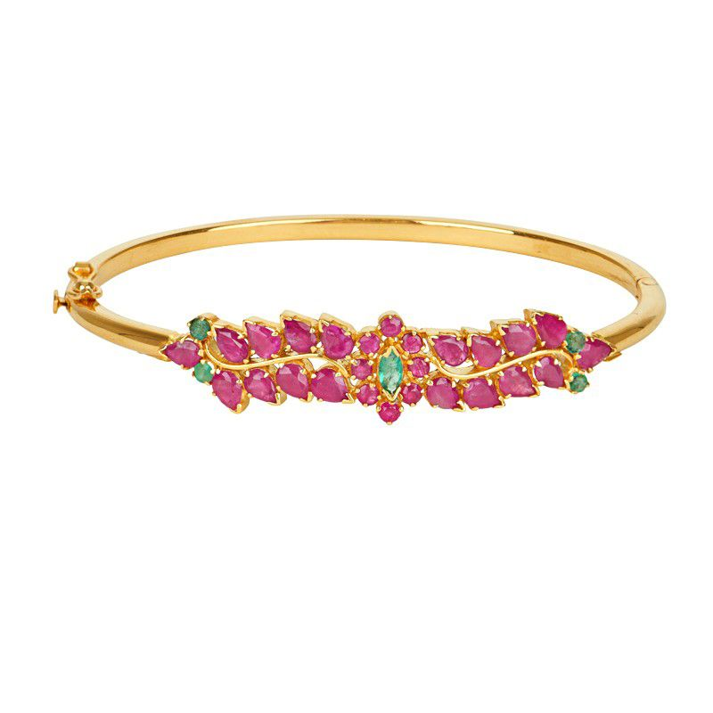 22k Gold Leaf Design Gemstone Bracelet
