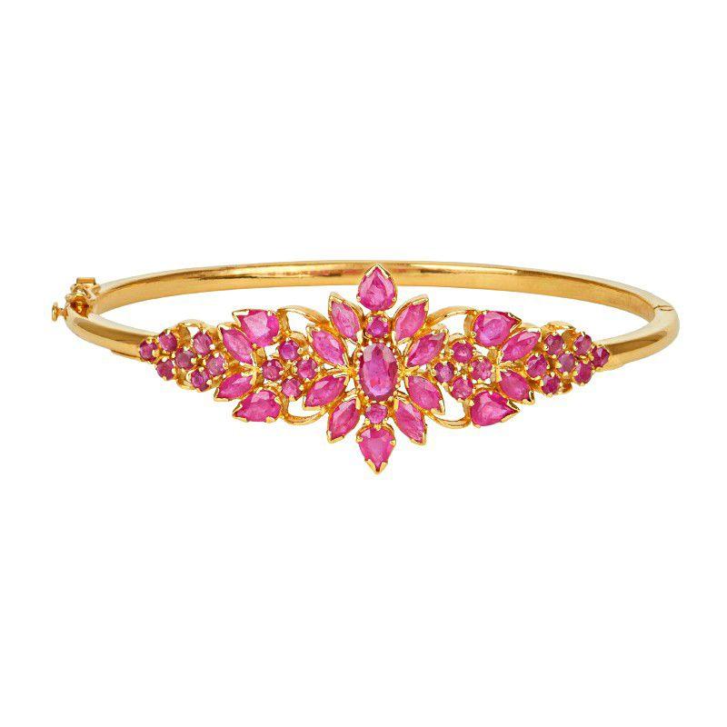 22k Gold Ruby Leaf Bracelet