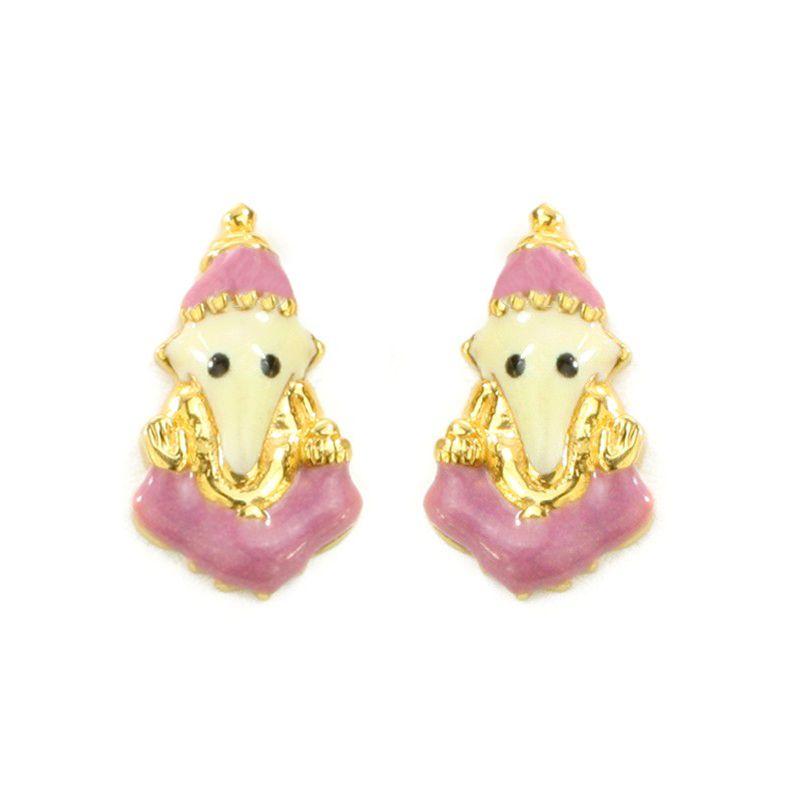 22k Gold Pink Ganesha Baby Earrings