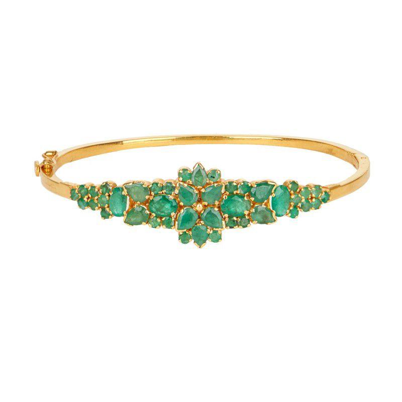 22k Gold Emerald Bangle Bracelet