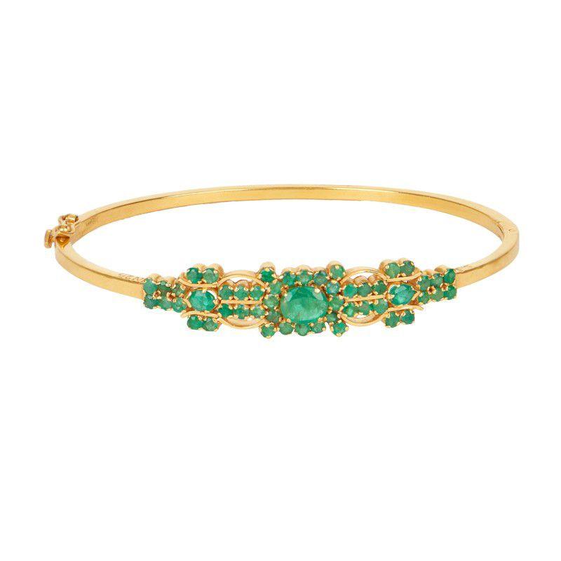 22k Gold Stunning Green Bangle Bracelet
