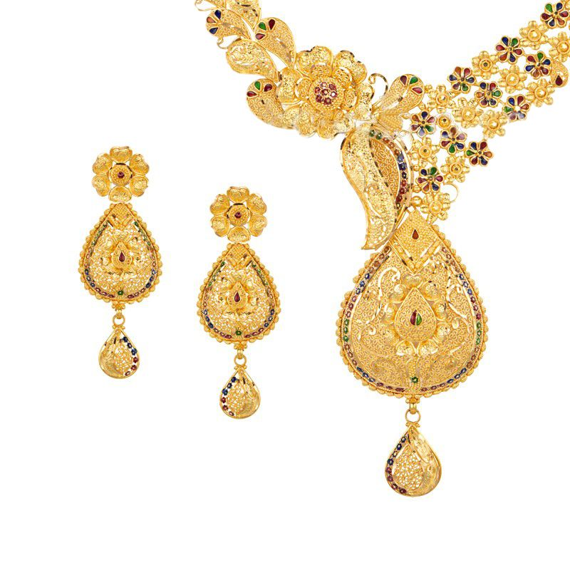 22k Gold Floret Design Gold Necklace