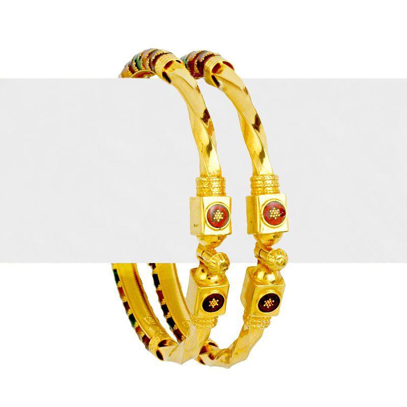 22k Gold Wavy Design Enamel Kadas
