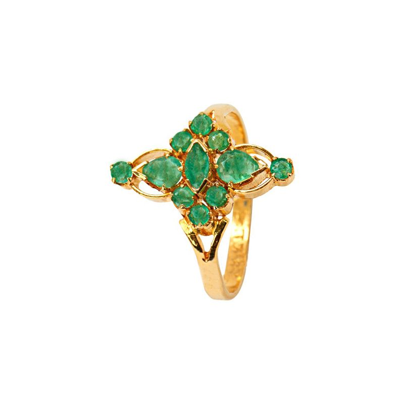22k Gold Emerald Gold Cocktail Ring