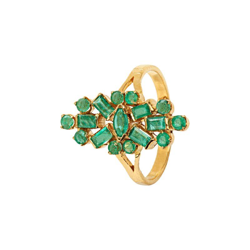 22k Gold Green Emerald Gold Ring